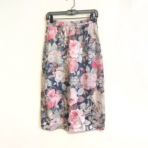 Vintage Pastel Floral High Waist Pencil Skirt